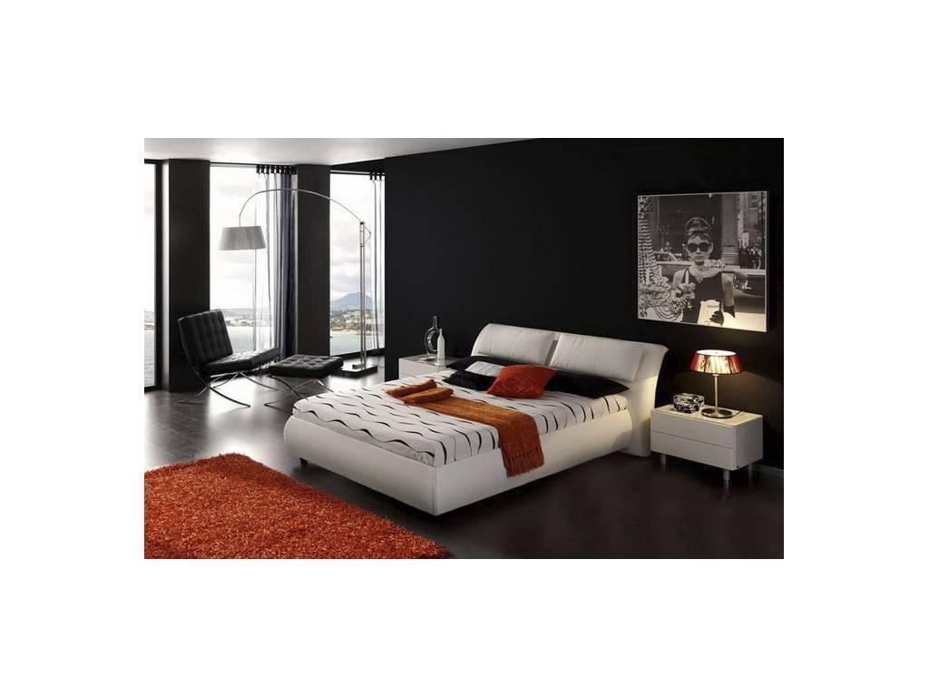 Белая двуспальная кровать Бали-2: 300 вариантов обивки, бельевой ящик с механизмом