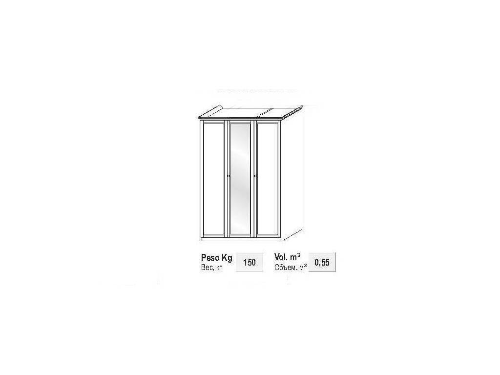 M. Villanova: Aurora: шкаф 3-х дверный h209 с зеркалом  (орех)