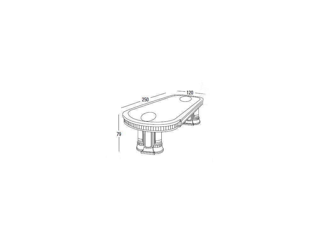 Vicente Zaragoza: Эрмитаж 23: стол обеденный  250х120 (каррара, имитация мрамора)
