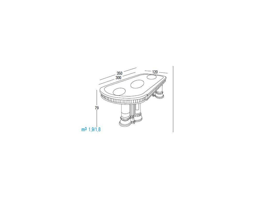Vicente Zaragoza: Эрмитаж 23: стол обеденный  300х120 (каррара, имитация мрамора)