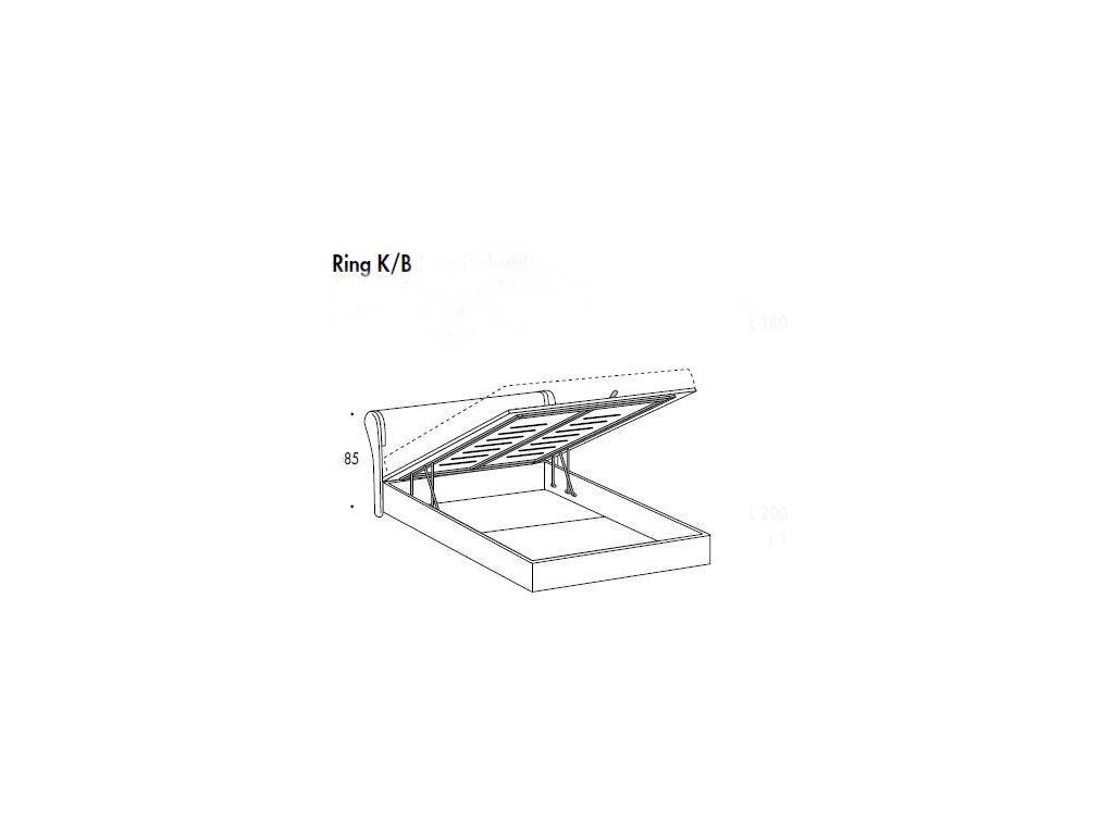 SMA: Trendy: кровать 163х198  с подъемным механизмом ринг K/B  (белый ясень)