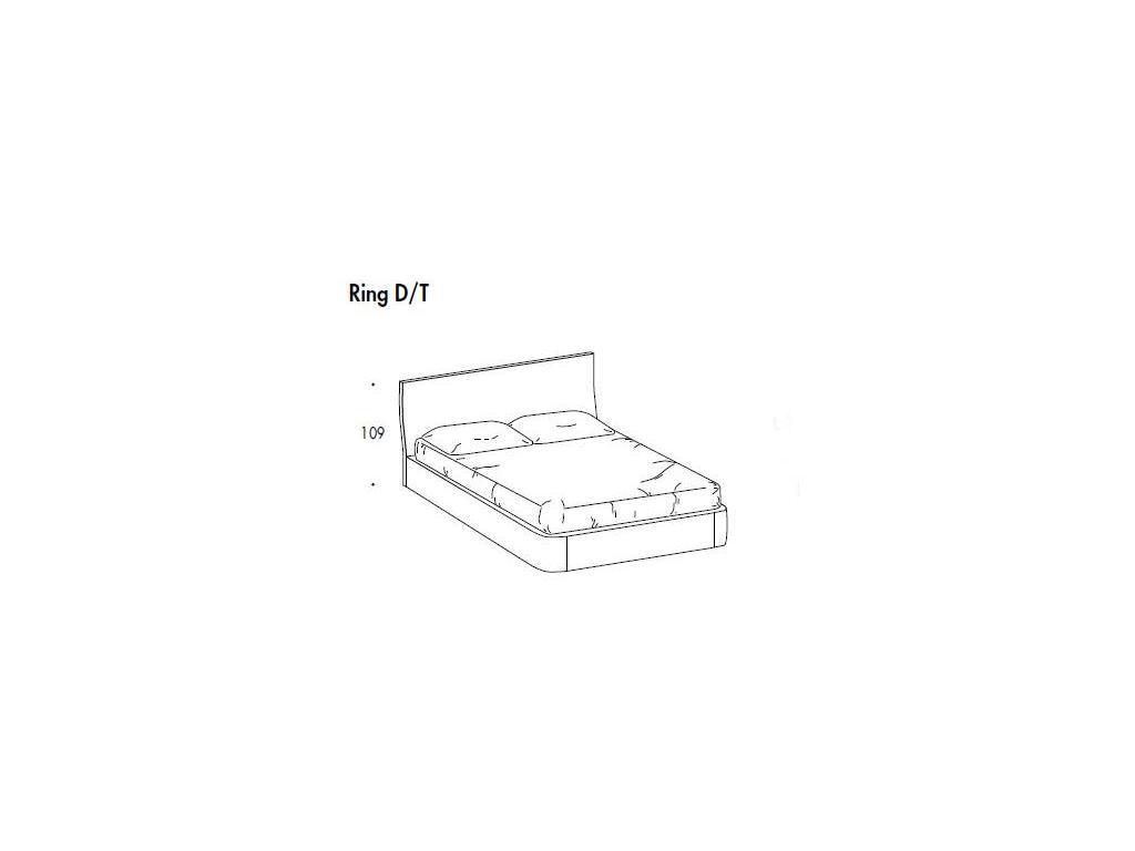 SMA: Evita: кровать  ринг D/T 163х203 подушка на изг. (ясень белый)