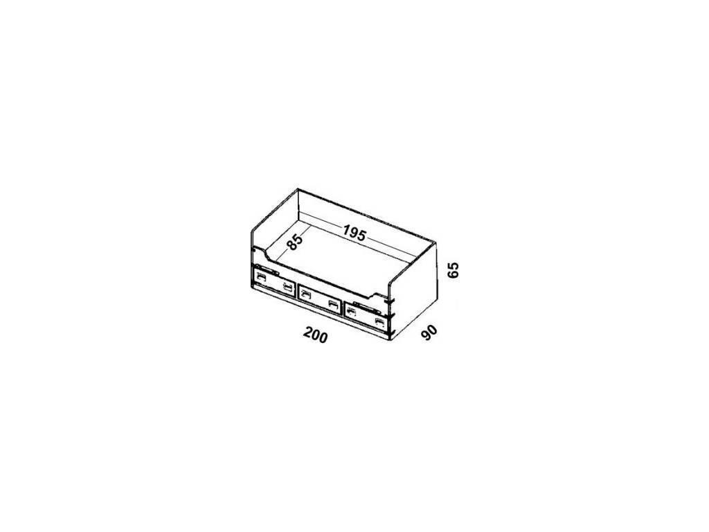 Caroti: кровать-чердак 90х200  (темный)