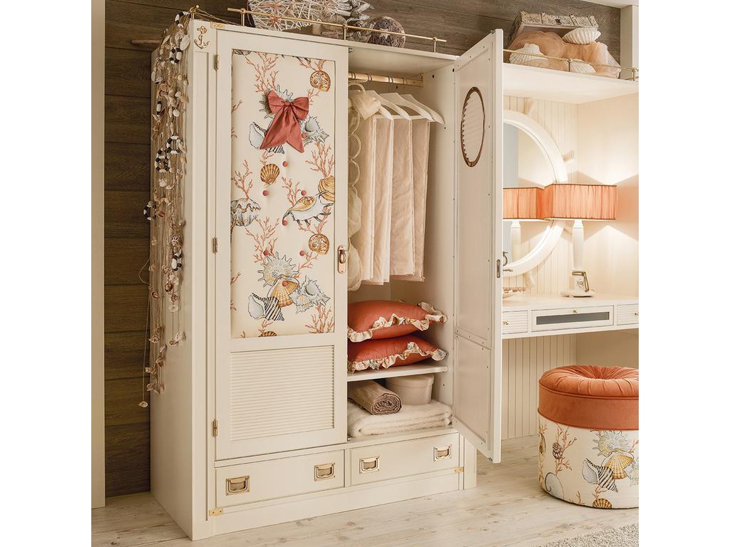 Caroti: шкаф 2-х дверный  с 2 ящиками (белый, ткань)