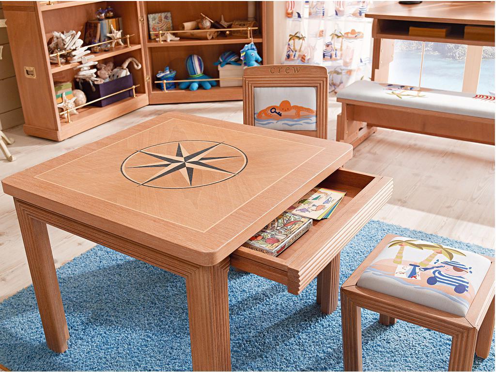 Caroti: стол журнальный  с инкрустацией Розы Ветров (натуральный светлый)