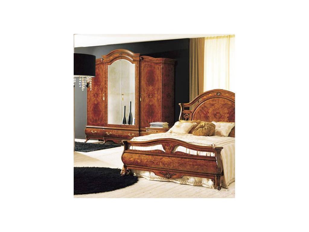 Grilli Грилли: Рондо: шкаф 4-х дверный, 2 зеркала  (орех, позолота)
