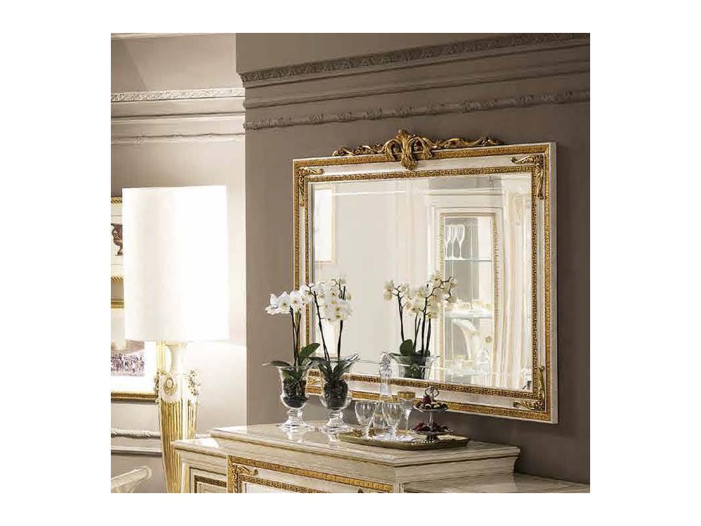 Arredo Classic: Leonardo: зеркало настенное большое с короной (слоновая кость)
