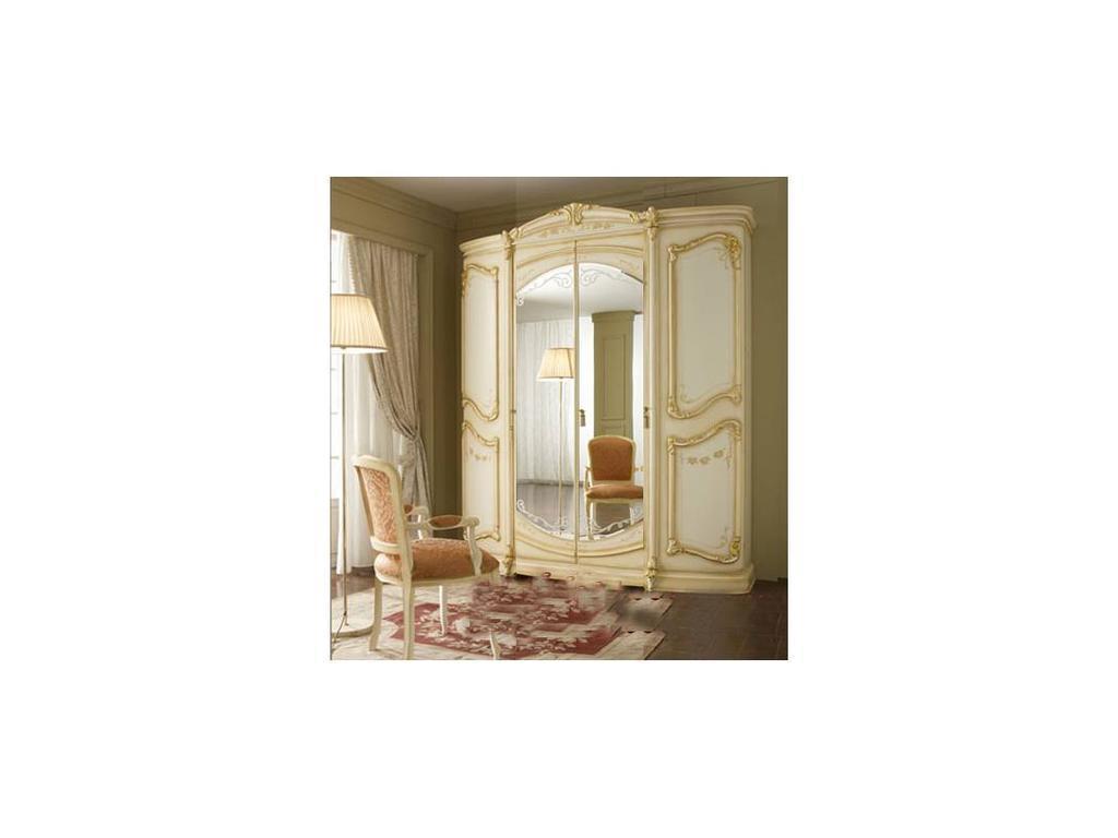 А и М Ghezzani: Роял: шкаф 4-х дверный с зеркалами (слоновая кость, золото)