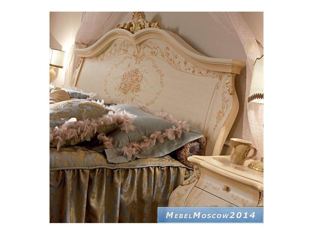 А и М Ghezzani: Редженца: кровать 180х200 изголовье изножье дерево (слоновая кость, золото)