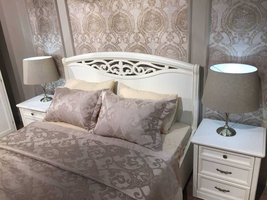 Liberty: Сан-Ремо: кровать 180х200 с резной вставкой, без изножья  (белый)