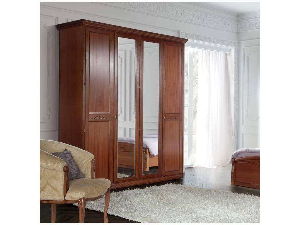 Liberty: Сан-Ремо: шкаф 4-х дверный  с 2мя зеркалами (вишня)