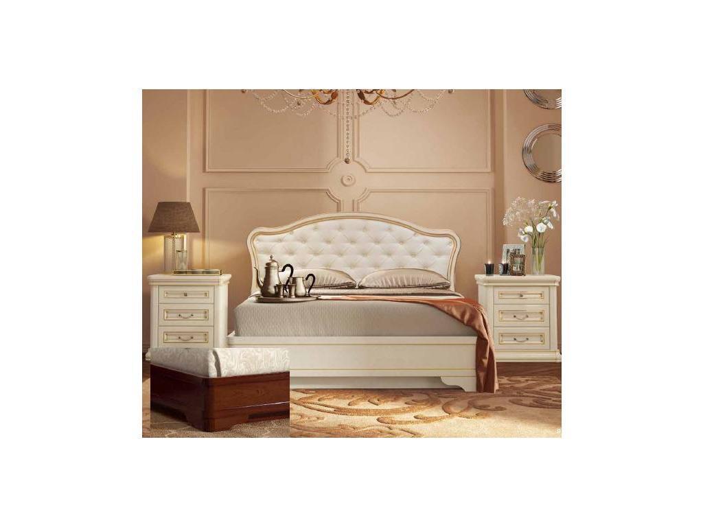 Liberty: Сильвия: кровать 160х200  с мягкой спинкой (орех милано)