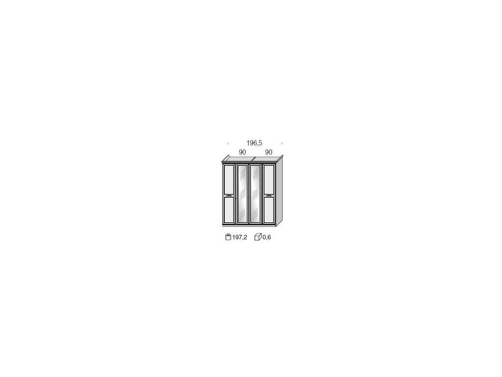 San Michele: Portofino: шкаф 4-х дверный  с 2мя зеркалами и декором (белый)
