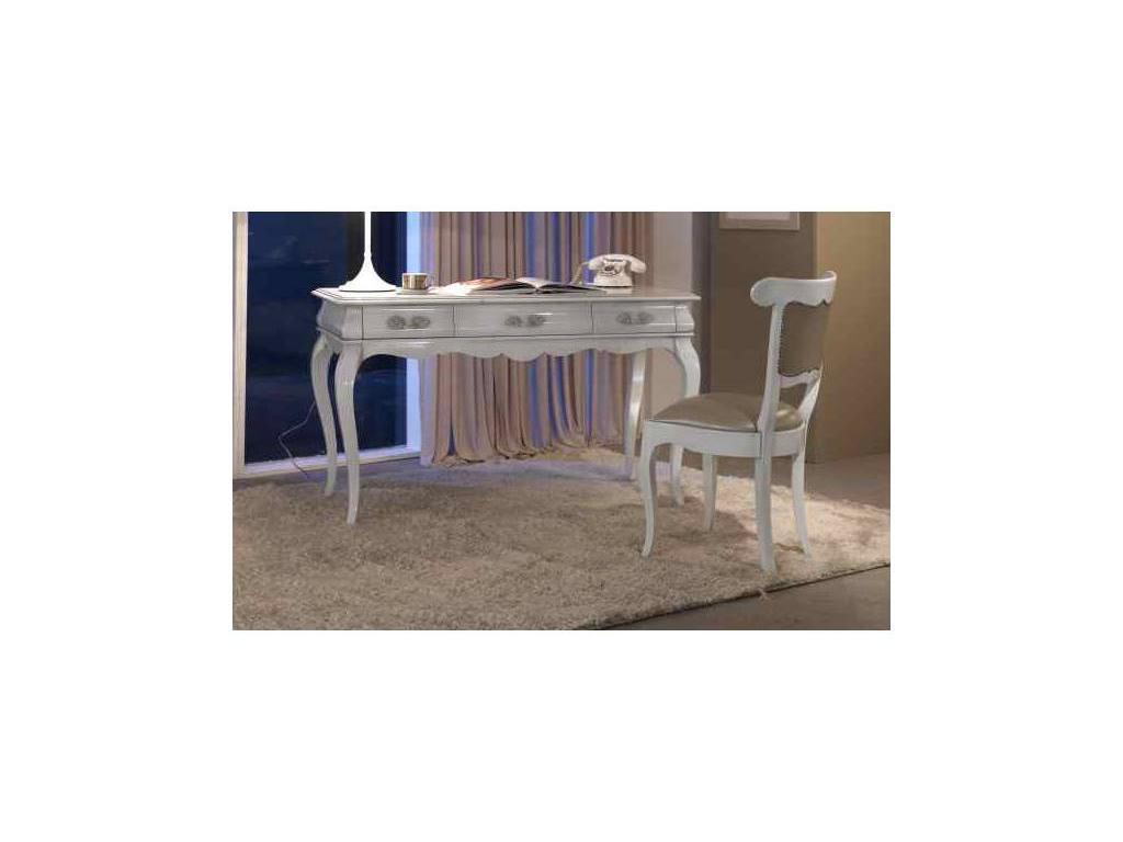 Cavio: Madeira Bianco: стол письменный  (белый лак, серебро)