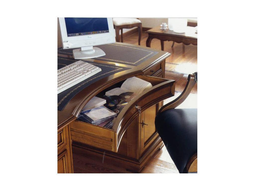 Cavio: Madeira Intarsio: стол письменный 2-х тумбовый  кожа (черешня мадейра, табако P 705)