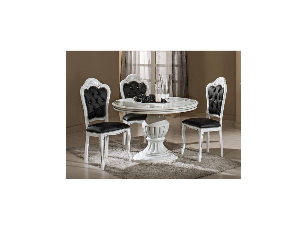 H2O design: Престиж: стол обеденный круглый раскладной (белый с серебром)