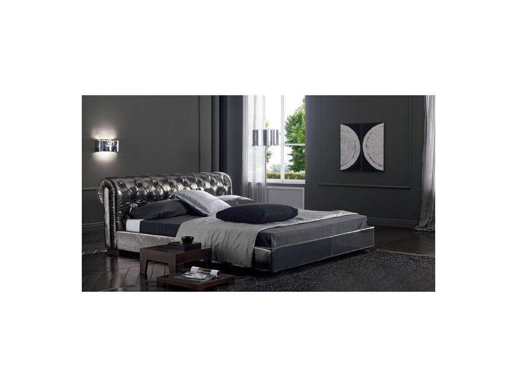 Bolzan: Exige: кровать 160х200  кожа + кнопки Swarovsky