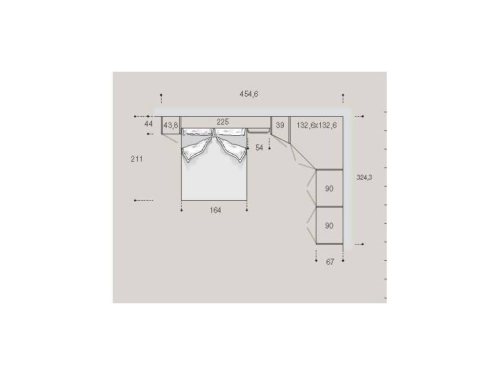 Pitti Charm: детская комната 22 с кроватью (filetto celeste)