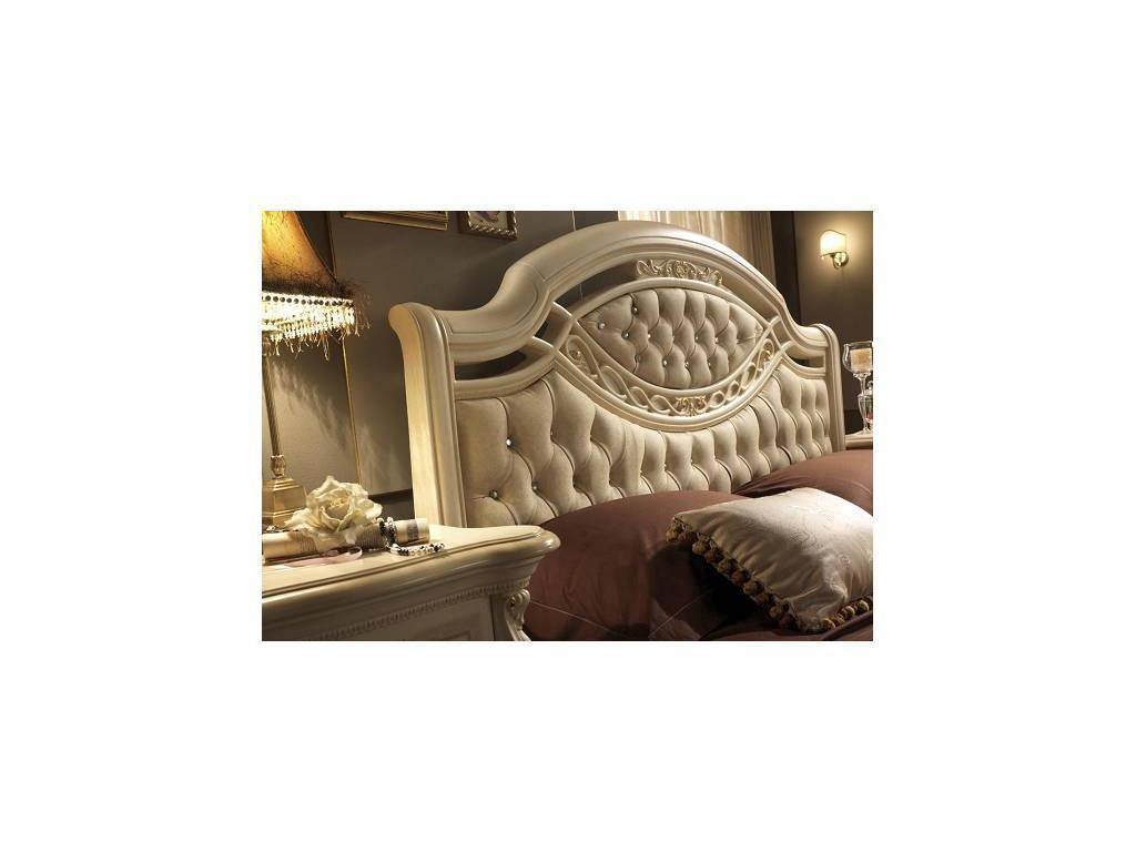 MobilPiu: Регина: кровать 180х200 спинка капитоне ткань (слоновая кость, золото)