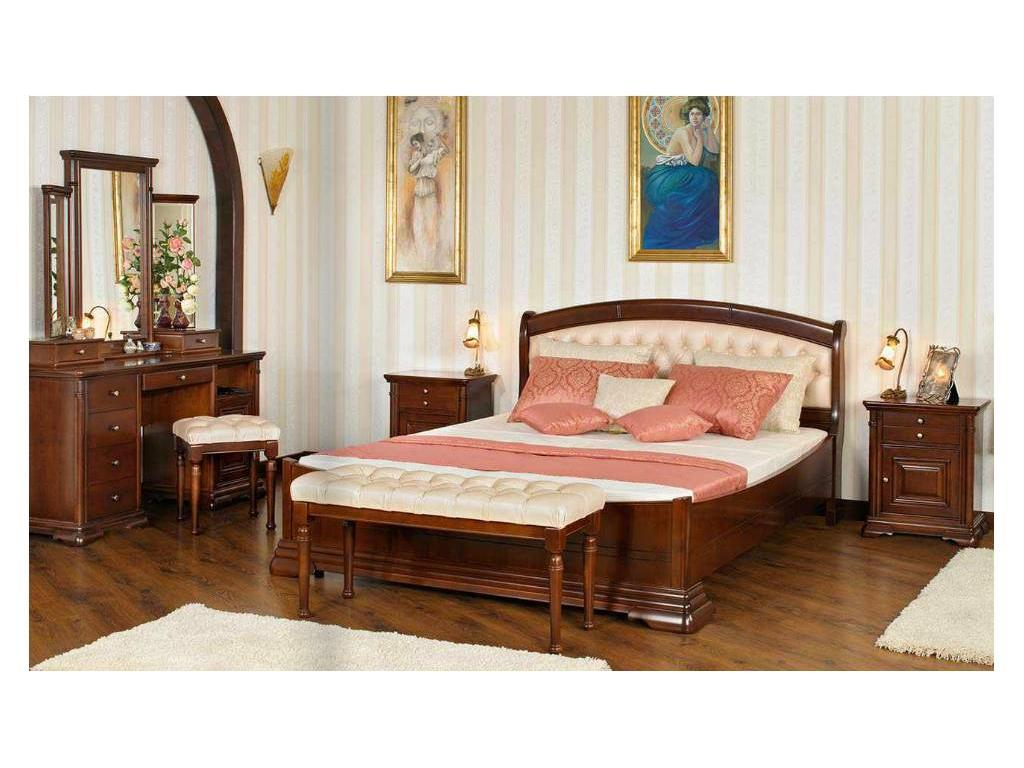Mobex Мобекс: Элеганс: кровать 180х200 NT (орех, кожа 496)