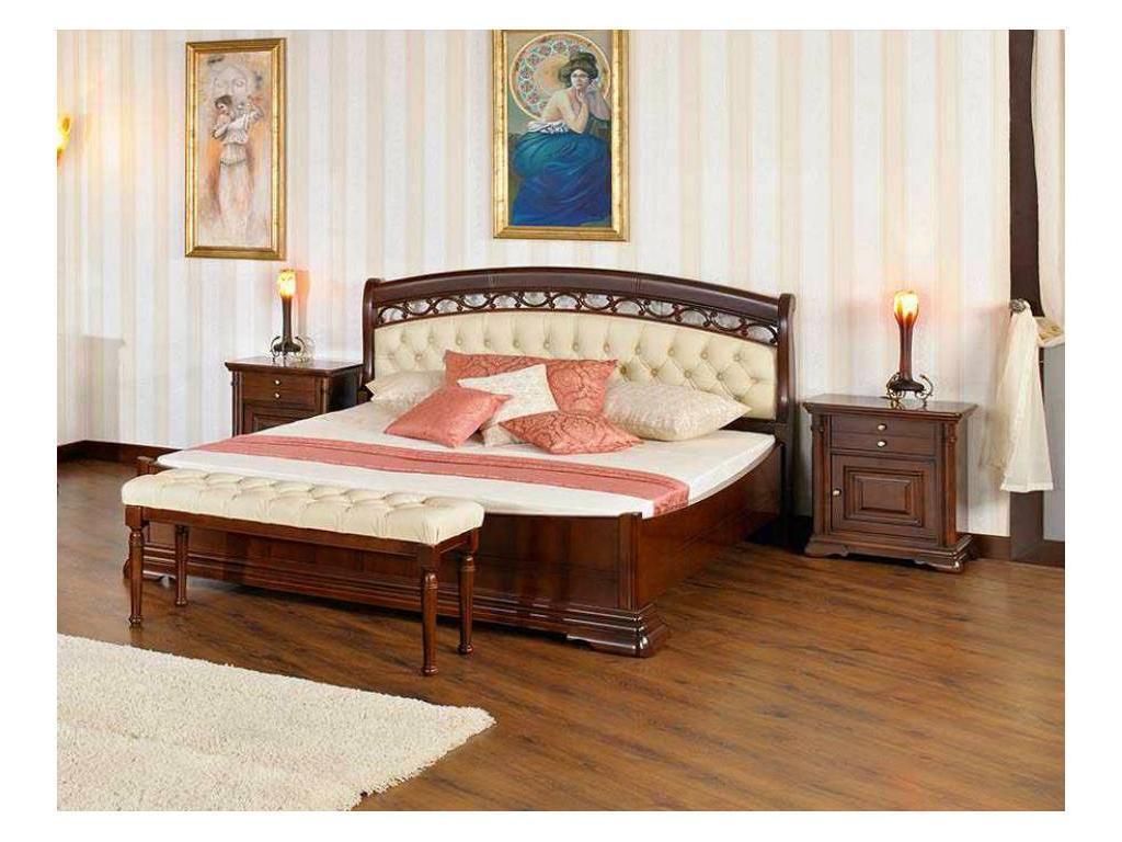 Mobex Мобекс: Элеганс: кровать 180х200 NTA (орех, кожа 496)