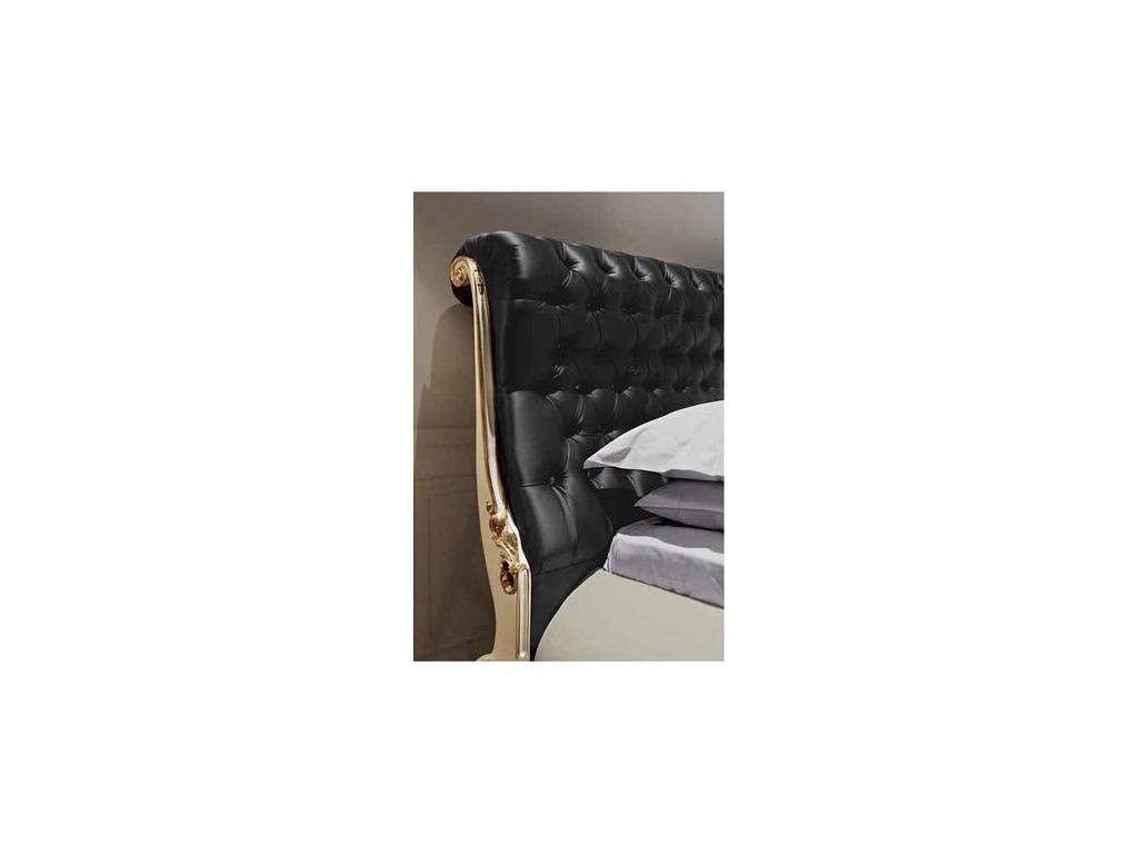 Jetclass: Venezia: кровать двуспальная  160х200 (крем, кожа черная)