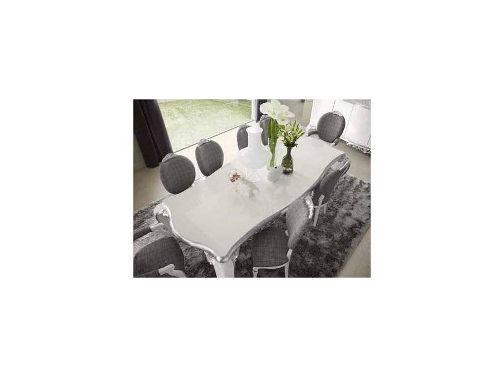 Jetclass: Capri: стол обеденный  (белый, серебро)