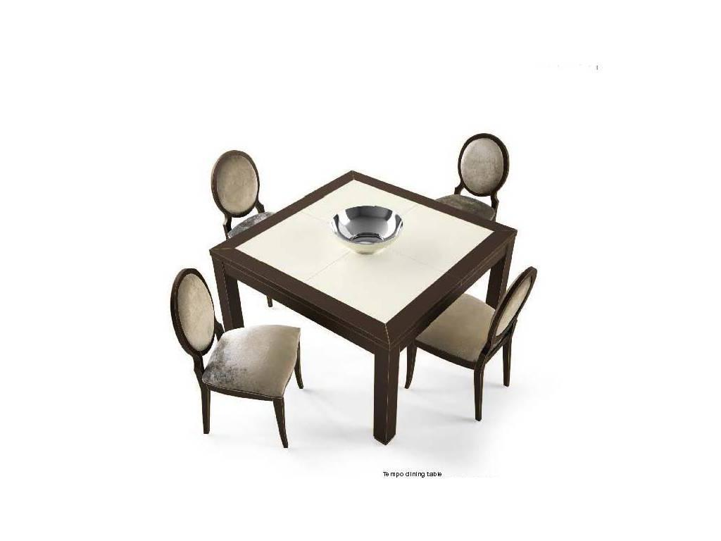 La Ebanisteria: Tempo: стол обеденный 130х130 раскладной  (nero,argento)