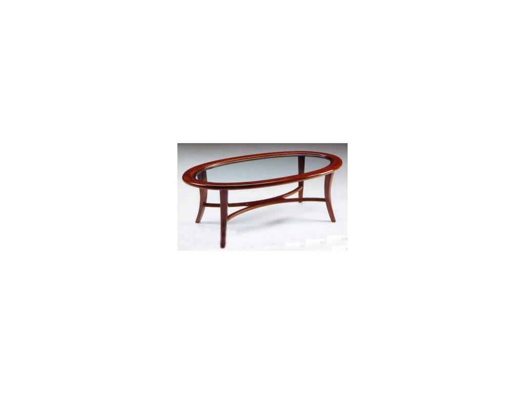Nieri: Sirio Oval: стол журнальный стеклянный кожа кат. Extra (LC 75 M)