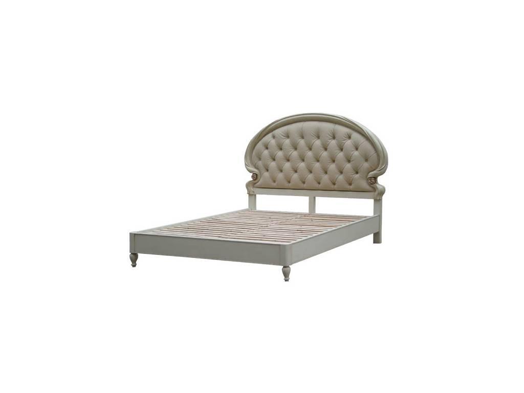 Vaoro: Dolce Rosa Дольче Роза: кровать 180х200 с кожаным изголовьем  (слоновая кость)