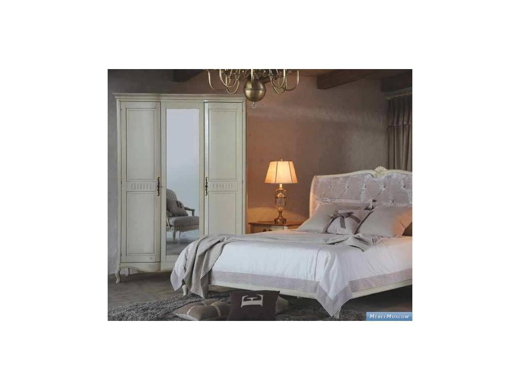 Vaoro: Provence: шкаф 3-х дверный с зеркалом  (слоновая кость)