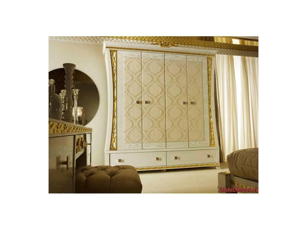 Gotha: Gold and Diamonds: шкаф 4-х дверный  ткань (белый, золото)