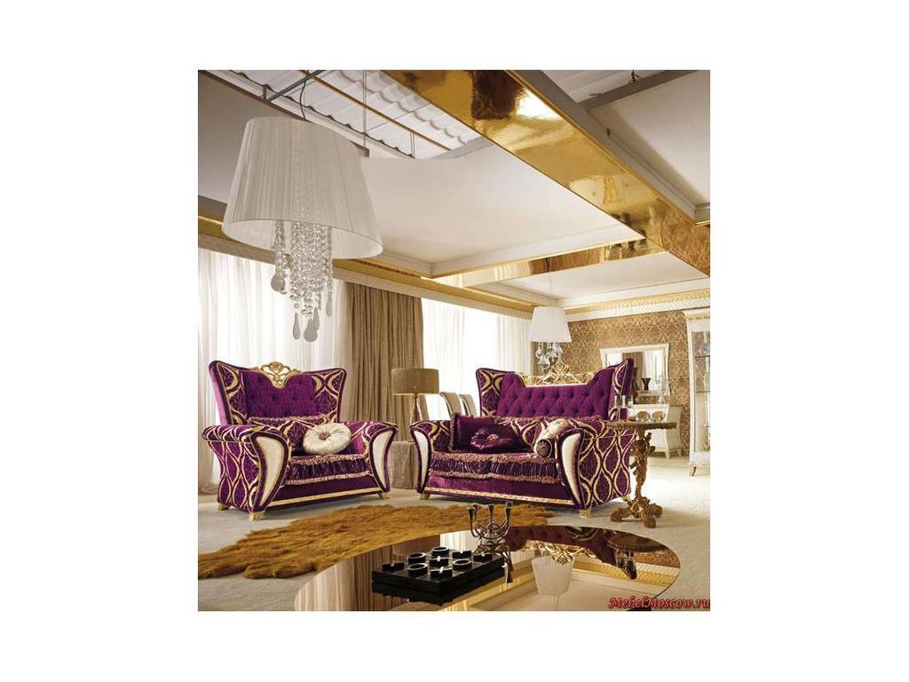 Gotha: Gold and Diamonds: диван 2-х местный  ткань (фиолетовый, золото)