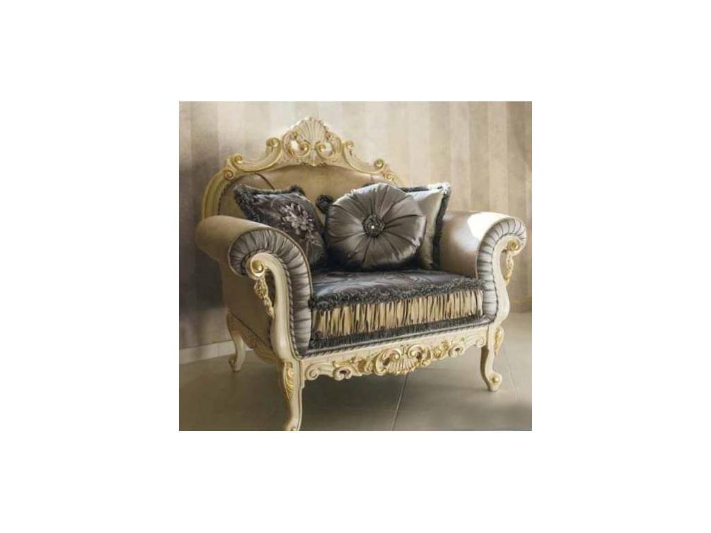 MobilPiu: Опера: кресло (слоновая кость, золото) ткань Illusion 5586, Brooklyn 01