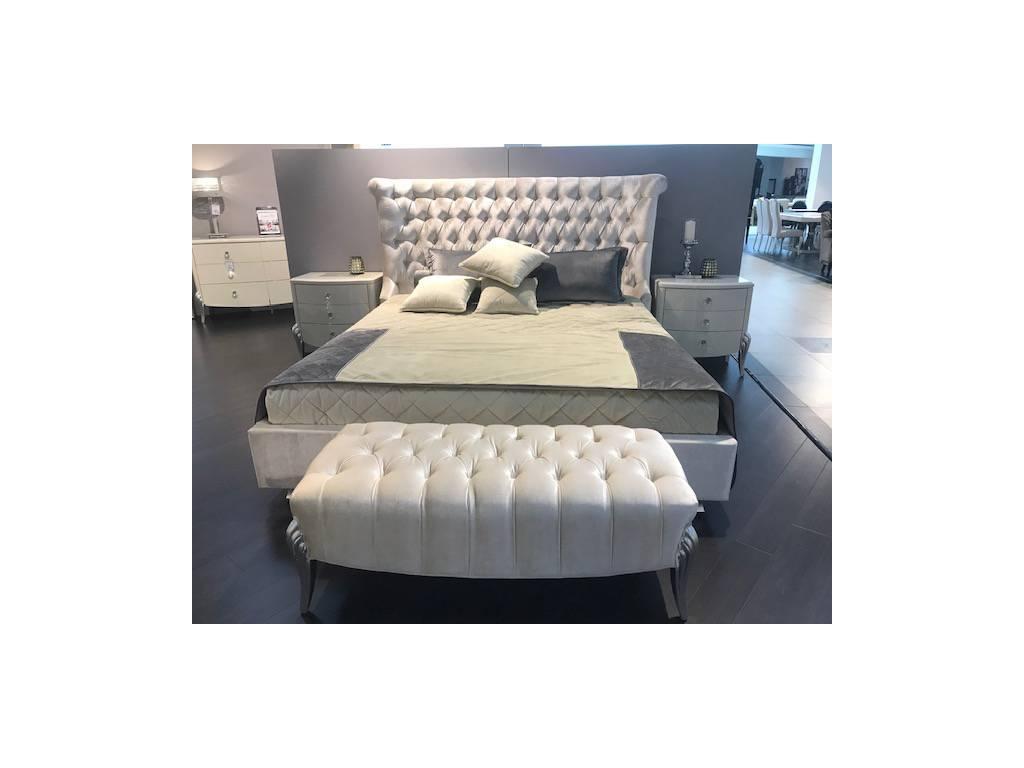 Fratelli Barri: Roma: кровать  180х200 ткань светло-бежевый велюр (бежевый лак)