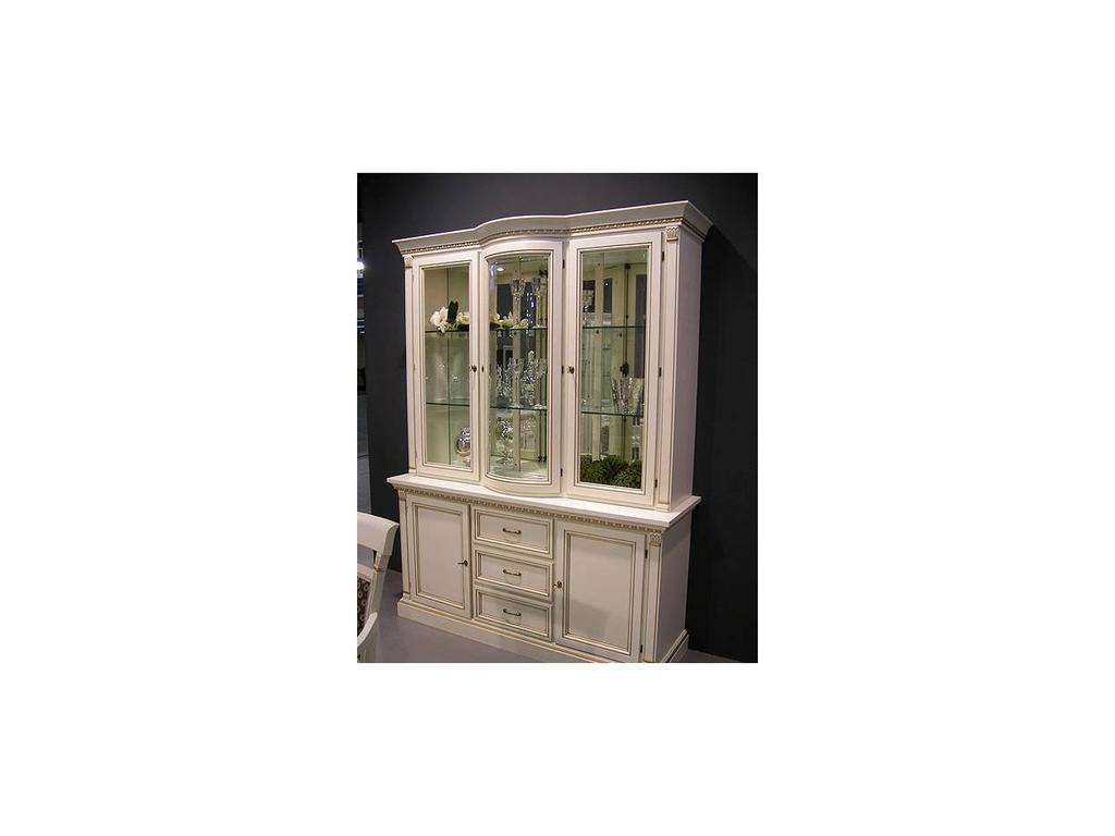 Liberty: Венеция: витрина  3-х дверная с подсветкой (белая)
