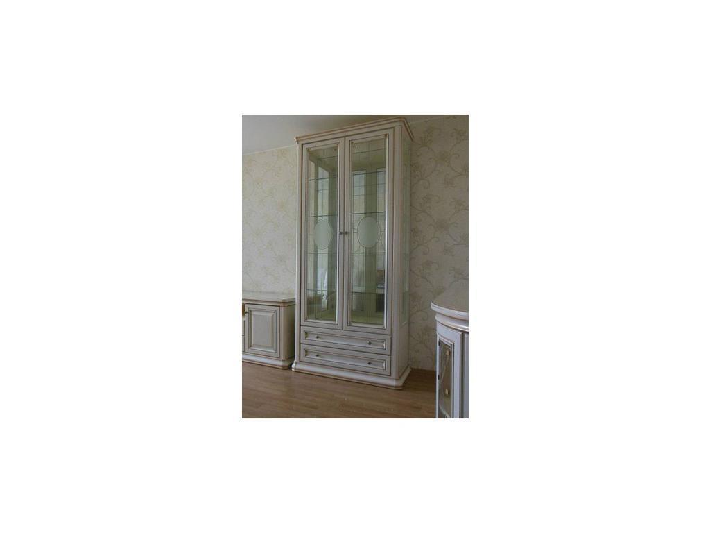 Свобода: Сильвия: витрина 2 дверная  (белый ясень, золотая патина)