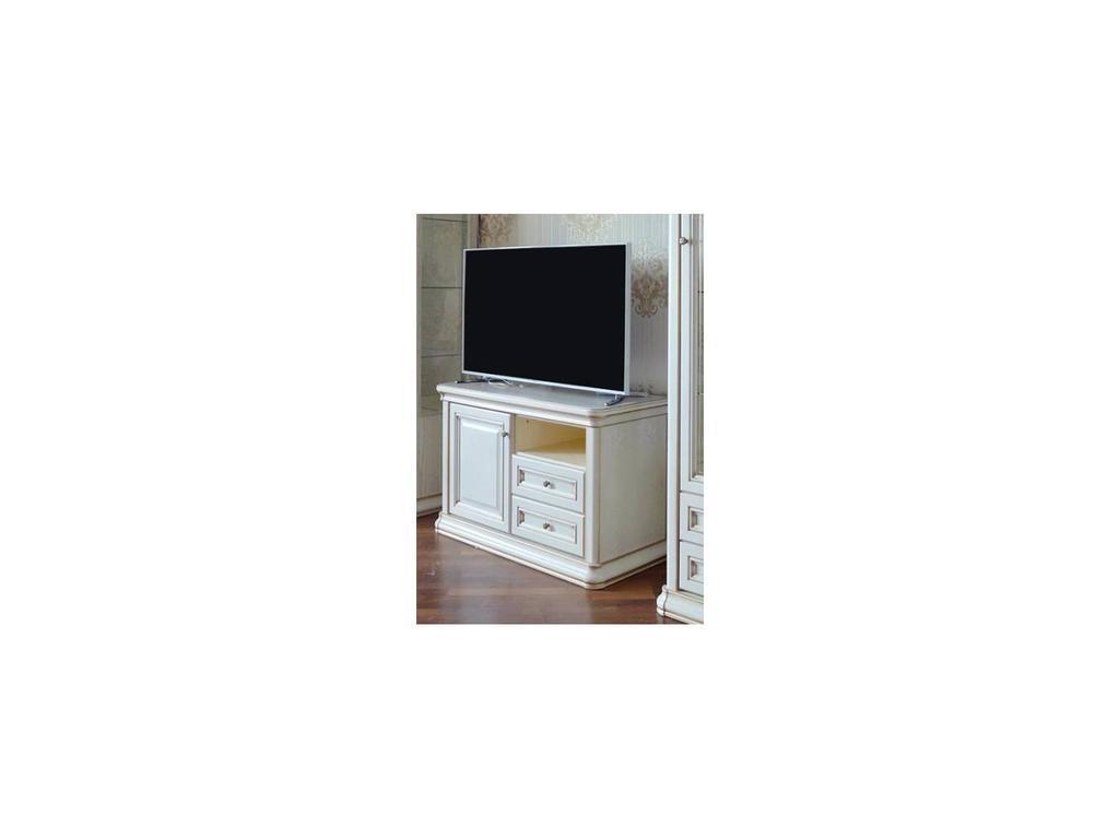 Liberty: Сильвия: тумба под телевизор  (белый ясень, золотая патина)