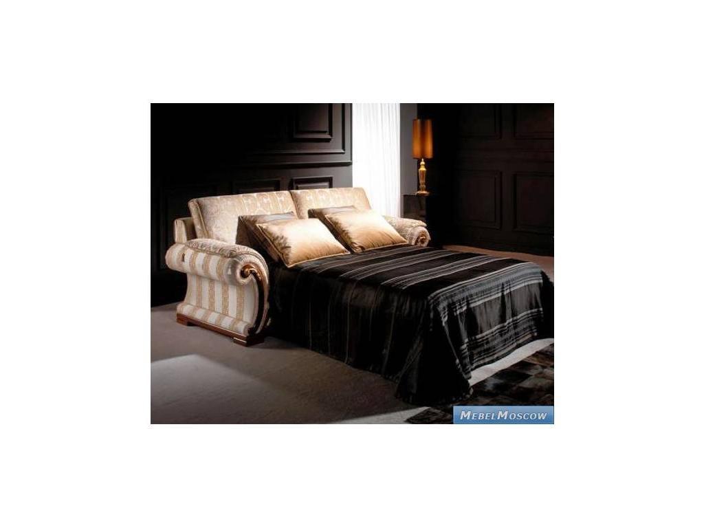 Solomando Соломандо: диван 3-х местный раскладной  ткань Elena Rayas Blanco (орех, золото)