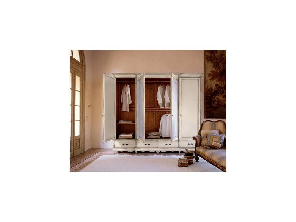 Cavio: Madeira: шкаф 4-х дверный 4 ящика с матовым стеклом  (белый лак, серебро)