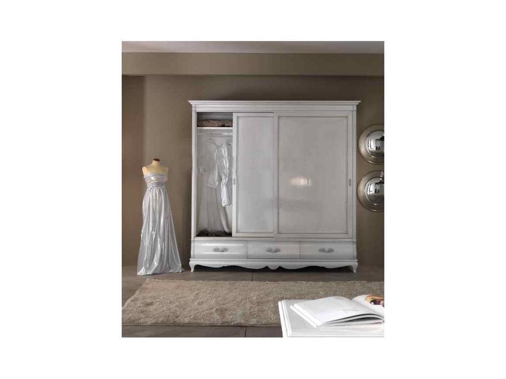 Cavio: Madeira: шкаф-купе 2-х дверный, 3 ящика  (белый лак, серебро)