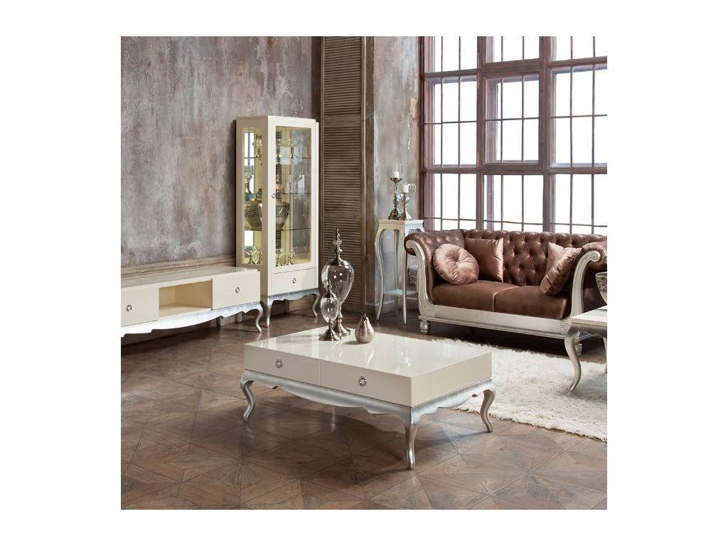 Fratelli Barri: Venezia: стол журнальный  (кремовый лак, серебро)