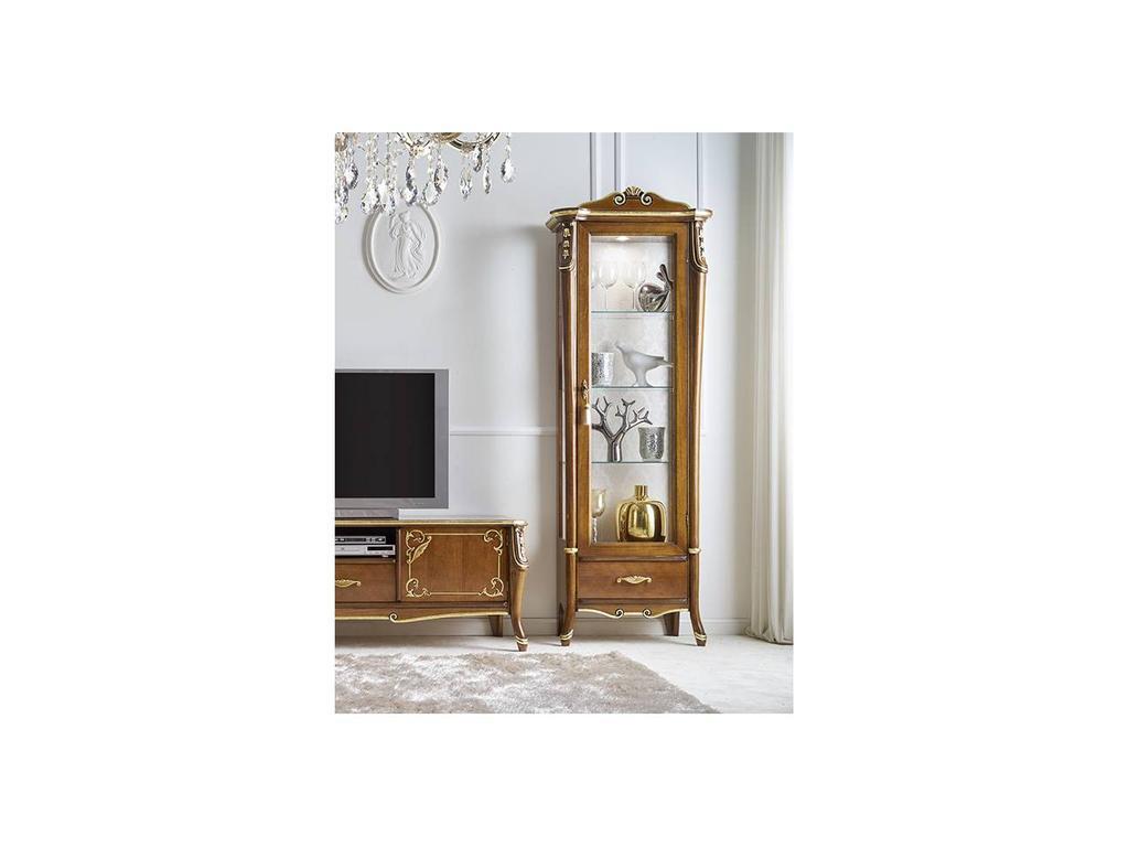 Italexport Италэкспорт: Sfumature: витрина 1 дверная правая с короной  (вишня)