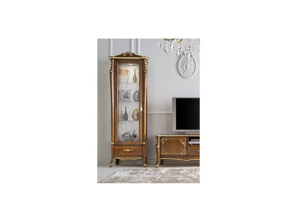 Italexport Италэкспорт: Sfumature: витрина 1 дверная левая с короной  (вишня)