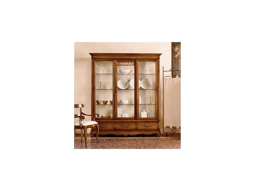 Cavio: Мадейра Intarsio: витрина 3-х дверная 3 ящика  (черешня Мадейра)
