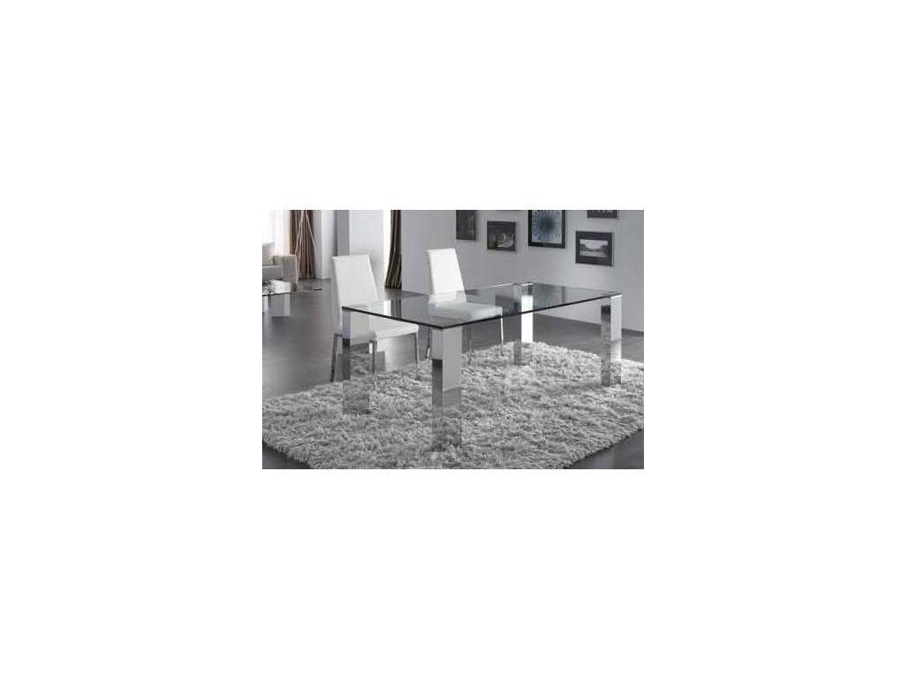 RamiroTarazona: TEMPO PLUS: стол обеденный раскладной (vetro, gris plata, cromo)
