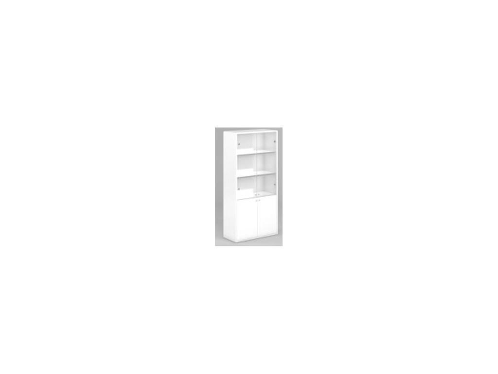 DAO: Business: шкаф для документов со стеклом (белый глянец)