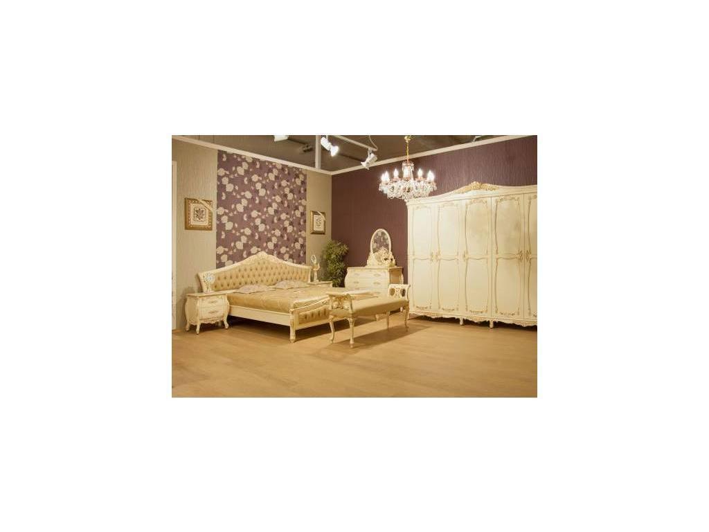 Perfect furniture: Mahogany: кровать  180х200 (слоновая кость позолота, экокожа)