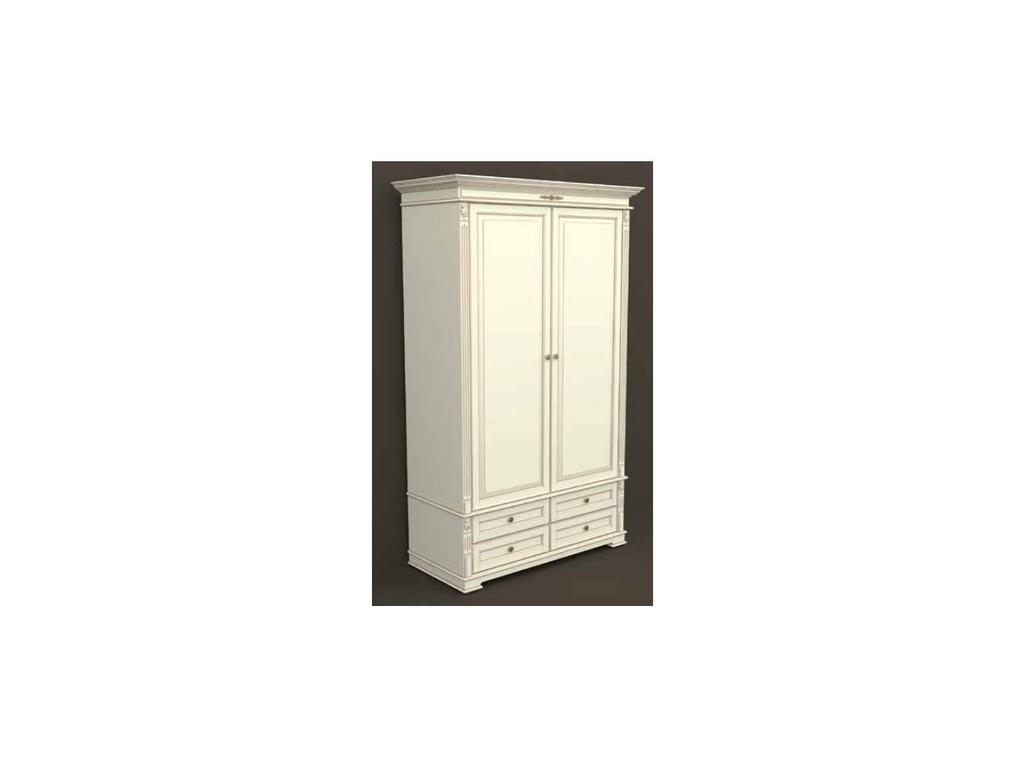 Arco: Classica: шкаф 2-х дверный  (белый, патина- коричневая)