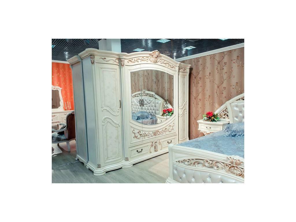 Fm: Мадрид-Классик: спальная комната с 6-ти дверным шкафом (крем, патина)